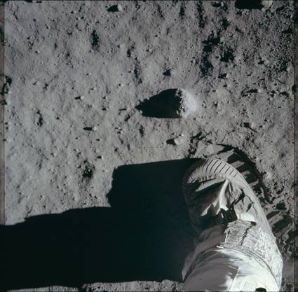 Der Fussabdruck auf dem Mond.