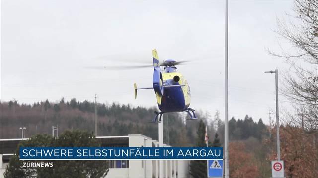 Toter und Schwerverletzter bei zwei Selbstunfällen im Aargau