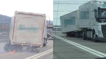 Ein demolierter LkW fährt unbeirrt auf der A1