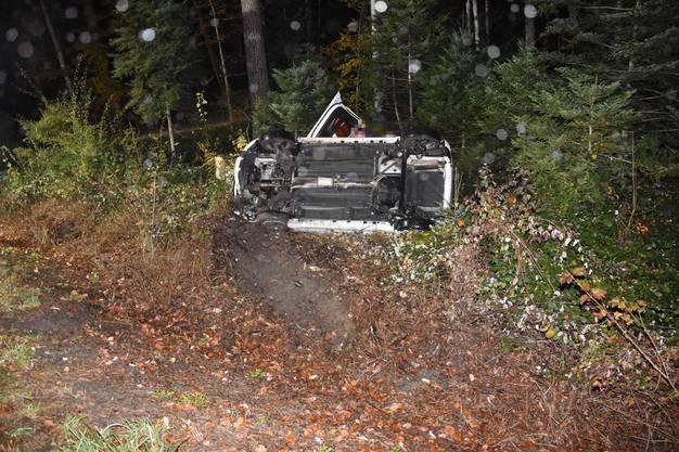 In der Kurve verliert die Lenkerin die Kontrolle über ihr Fahrzeug und rutscht die Böschung hinunter.