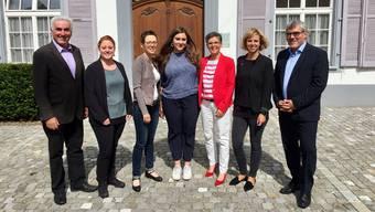 Andreas Bammatter, Desirée Jaun, Sabine Asprion, Samira Marti, Sandra Strüby-Schaub, Miriam Locher und Eric Nussbaumer (von links) steigen für die Baselbieter SP in den Wahlkampf.