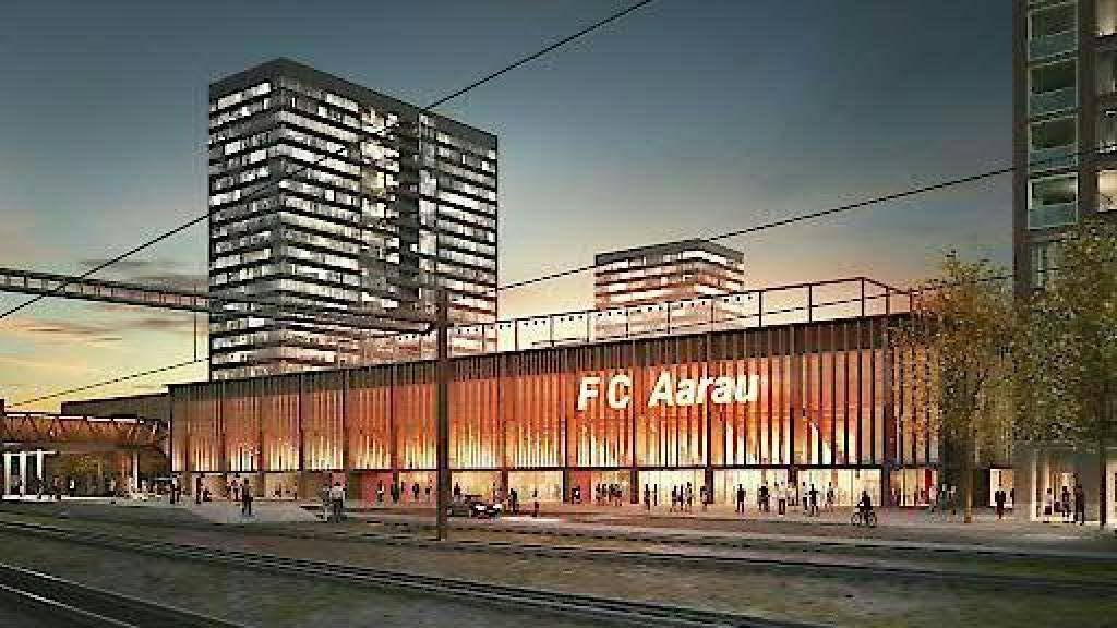 So soll es aussehen: Das neue Fussballstadion in Aarau mit insgesamt vier Hochhäusern. Das letzte Wort spricht das Volk im November.