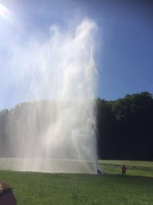 Kurioses Phänomen: Die 25 Meter hohe Salzwasserfontäne bei Muttenz.