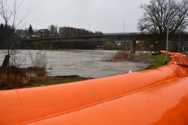 Im Schachen an der Aare haben Zivilschutz und Feuerwehr am Montag die Beaver-Schläuche als Schutz gegen das Hochwasser verlegt.