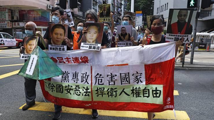 Demokratieaktivisten bei einer Protestkundgebung in Hongkong.