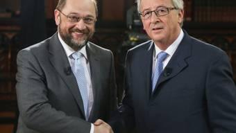 Martin Schulz und Jean-Claude Juncker vor der TV-Debatte