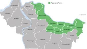 Der Bezirk Zurzach würde bei einer Annahme aller involvierten Gemeinden in Zukunft noch aus 13 Orten bestehen.