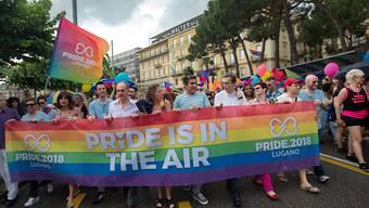 Der farbenfrohe Umzug der Gay Pride an der Seepromenade in Lugano.