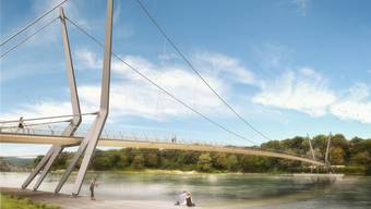 Ab 2018 könnte der neue Steg von Rheinfelden nach Deutschland eröffnet sein. Derzeit liegt auf der Bauverwaltung das Baugesuch auf. Visualisierung Ho