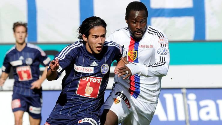 Die FCB-Spieler (hier Cabral in Weiss) liefen den Luzernern (hier Jahmir Hyka) zu oft nur hinterher. Key