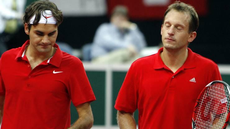 Allegro (r.) mit Federer im Davis Cup 2007: Der 41-jährige Walliser ist heute als Trainer beim Tennisverband Swiss Tennis tätig.