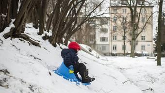 Mancherorts reichte die Schneedecke am Sonntag auch im Flachland für einen Schlittelplausch.