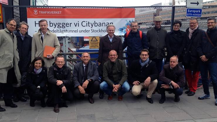 Die erweiterte Geschäftsleitung des BVD auf der Baustelle der Citybanan. Foto Marc Keller/BVD