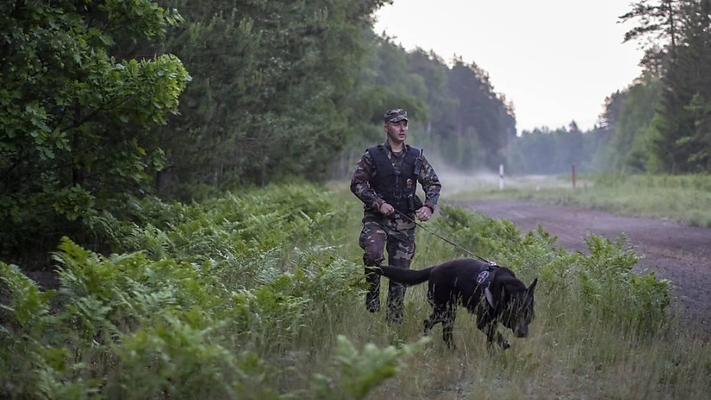 Ein Mitglied des litauischen Grenzschutzes patrouilliert mit einem Hund an der Grenze zu Belarus.