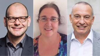 Marcel Lang, Claudia Salomon-Burri und Roger Mohr kandidieren für den Gemeinderat.