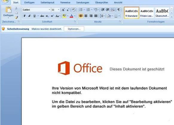 Microsoft Word schützt den Nutzer eigentlich vor Malware. Die Betrüger versuchen ihre Opfer aber dazu zu verleiten, den Schutz zu deaktivieren, damit sich Retefe installieren kann.