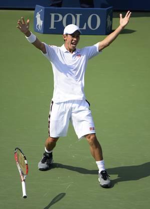 Kei Nishikori jubelt nach dem Sieg über Novak Djokovic.