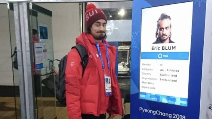 Eric Blum an Olympia: Der Eishockey-Nationalspieler macht lieber Selfies mit sich selbst als mit anderen. (Instagram)