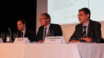 Die BLT ist gewillt, den Margarethenstich selber zu betreiben. Das stellen Generalsekretär René Lustenberger (links), VR-Präsident André Dosé und Direktor Andreas Büttiker in Oberwil klar.