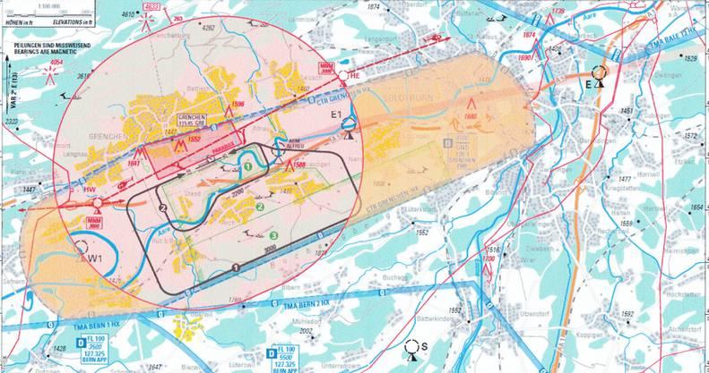 Die Karte zeigt die Beschränkungen: Der ovale Kreis rund um den Flughafen entspricht dem 5-Kilometer-Radius der Flugverbotszone. Die gelben Flächen der Kontrollzone, wo nur bis 150 Meter Höhe geflogen werden darf.