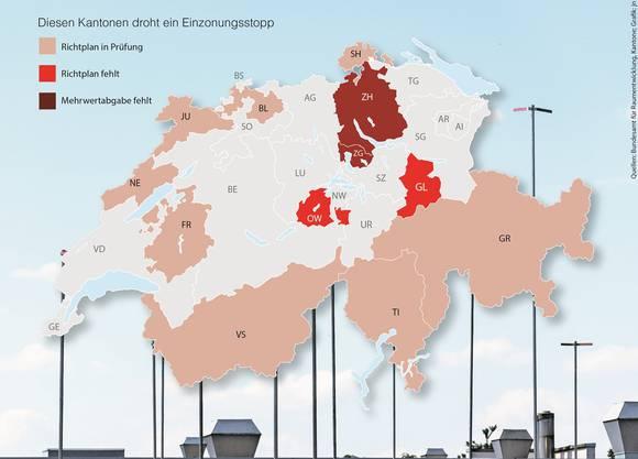 Folgenreicher Verzug: Der Bund friert als Sanktion die Bauzonen von vier Kantonen ein.