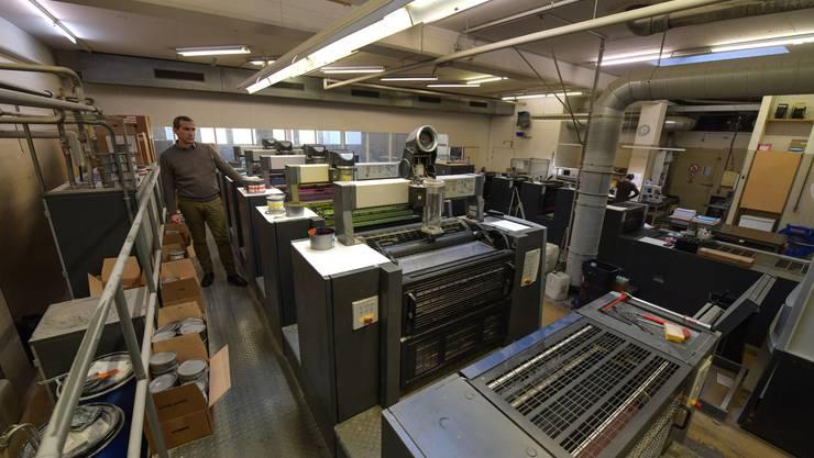 Blick in die Druckerei von Steudler Press AG an der Basler Zeughausstrasse: