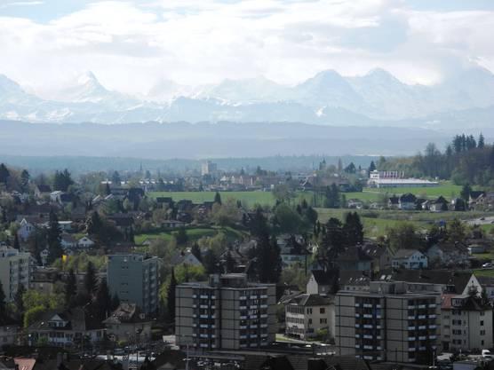 Der Blick ins Berner Oberland vom Schreckhorn über das Finsteraarhorn hinüber zu Eiger, Mönch und Jungfrau (v.l.)