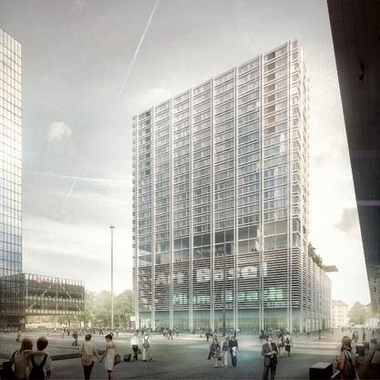 Der geplante rund 100 Meter hohe Turm in einer Visualisierung der MCH Group AG.