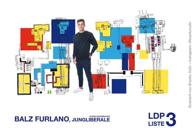 Der Jungliberale Balz Furlano hat sich für einen speziellen Kunsttyp entschieden, um seinen Charakter abzubilden.