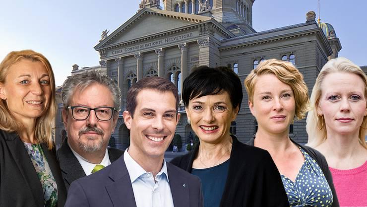 Aargauer Politikerinnen und Politiker vor dem Bundeshaus.