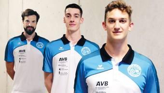 «Covid19-konforme» Portraits der Neuzugänge Jakub Radomski, Eric Heller und Luca Widmer (Foto von links).