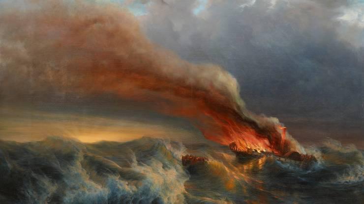 Ein Schweizer schaut auf internationale Gewässer: Johann Jakob Ulrich, Brennendes Dampfschiff auf stürmischer See, 1850-53