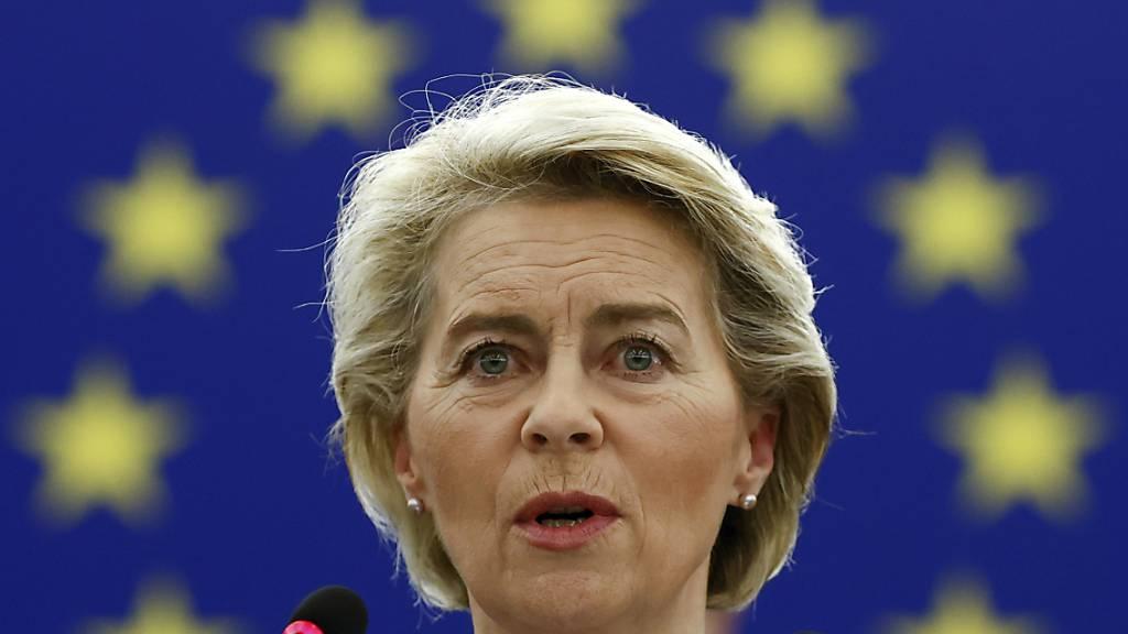 EU-Kommissionspräsidentin Ursula von der Leyen spricht während einer Plenarsitzung im Europäischen Parlament. Foto: Christian Hartmann/Pool Reuters/AP/dpa