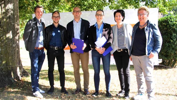 Die Kandidatinnen und Kandidaten (vlnr): Joel Müller, Simon Hafner, Stefan Müller-Altermatt, Rahel Fluri, Sandra Kolly und Marie-Theres Widmer