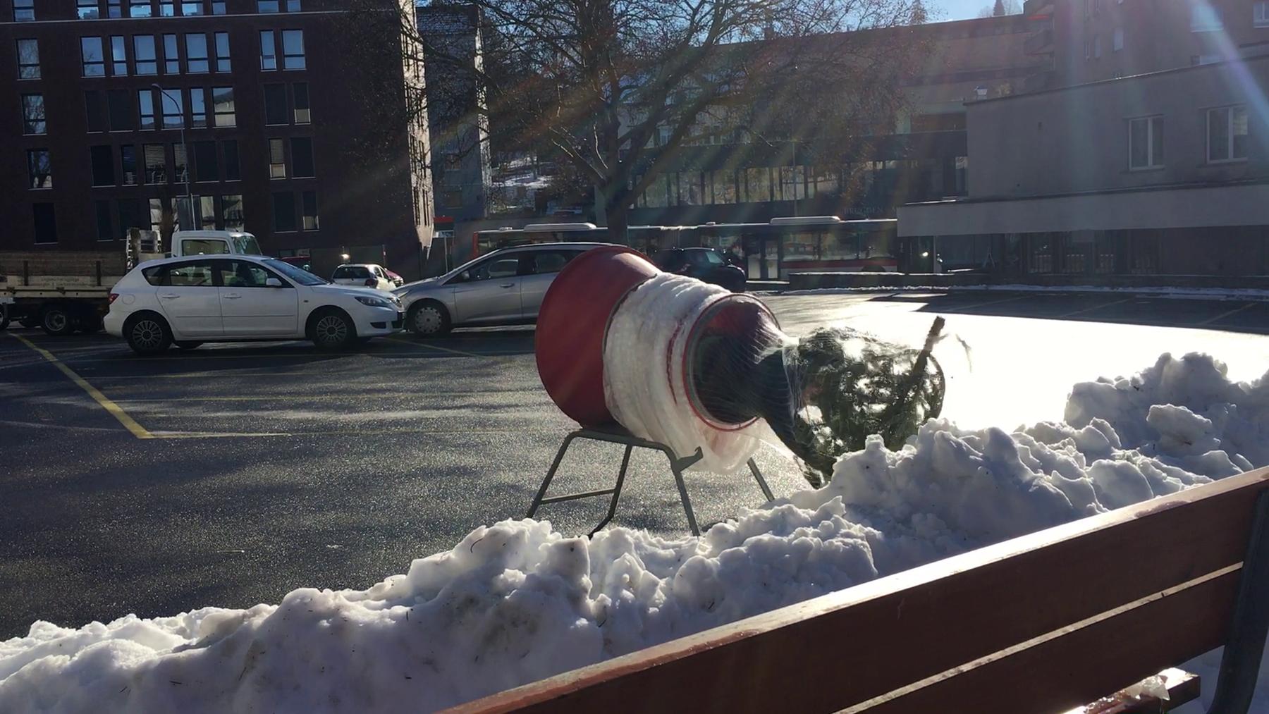 Weder Tod noch Teufel fürchtend wirft sich «toxic.fm»-Redaktor Elia Knecht durch die Weihnachtsbaumverpackungsmaschine.