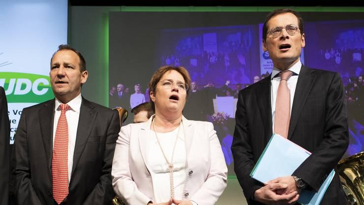 Kann es mit den Büezern nicht so gut wie Christoph Blocher: Die neue SVP-Führung, in der auch Thomas Matter, Magdalena Martullo und Roger Köppel mitwirken.