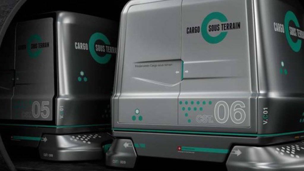 In futuristisch anmutenden und vollautomatisch gesteuerten Wagen sollen ab 2030 Güter in einem speziellen Tunnel von Logistikzentren in die Stadt Zürich transportiert werden.