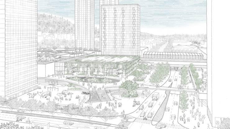 Der Stadtplatz soll Spreitenbach ein neues Gesicht verleihen. Im Hintergrund die beiden 95-Meter-Türme. Skizze: Hildebrand und Ruprecht Architekten
