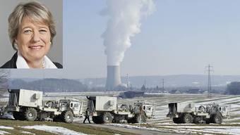 Frühere Seismikmessung vor dem AKW Gösgen. Ab Herbst 2015 soll am Standort Jura Nord (Bözberg) der Untergrund mit solchen Vibrationsfahrzeugen grossflächig abgetastet werden.