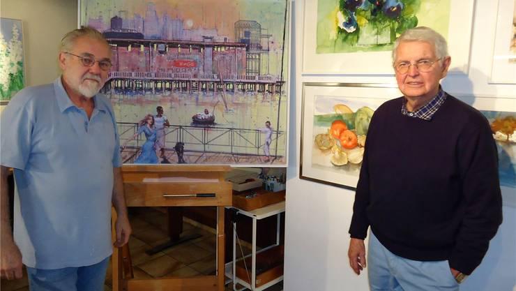 Ab Freitag stellen in der ehemaligen «Linde» Hans Fitze (links)und Eugen Wildberger ihre Werke aus. tf