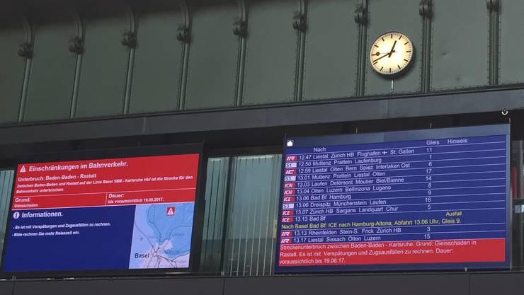 Informationen zur Störung in Deutschland im Bahnhof Basel SBB
