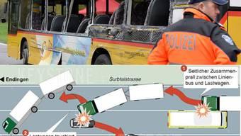 Unfall zwischen Postauto und Lastwagen fordert mehrere Tote und Schwerverletze zwischen Endingen und Lengnau.