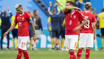 Die Enttäuschung ist gross bei den Schweizer Spielern kurz nach Spielschluss.