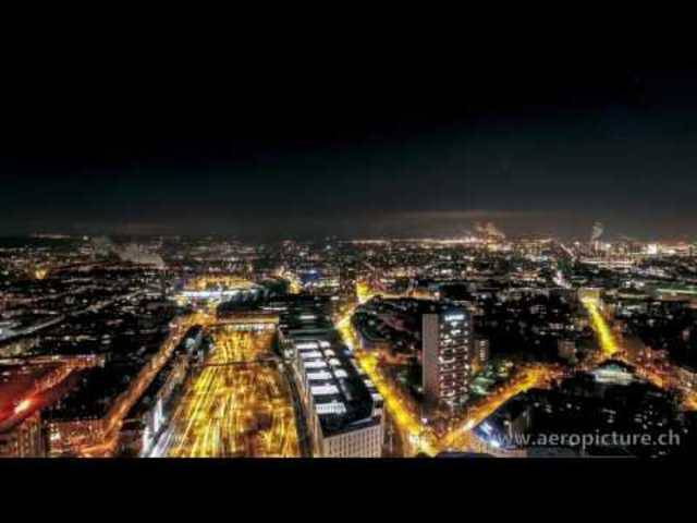Dronelapse: Arriving at SBB-Trainstation Basel at night