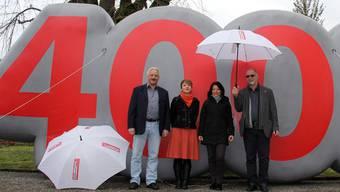 Marco Piovanelli, Travail Suisse Aargau, Irène Kälin, Grossrätin Grüne, Yvonne Feri, Nationalrätin SP Aargau und Kurt Emmenegger, Grossrat und Präsident des Aargauischen Gewerkschaftsbundes (v.l.).
