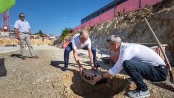 Grundsteinlegung für das neue Betriebsgebäude der Aare Energie Olten AG.