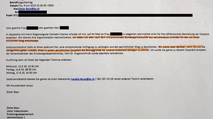 Dass zur Verhinderung des rechtlichen Wegs auch Geld fliessen wird, ist der E-Mail noch nicht zu entnehmen. (bz-Archiv)