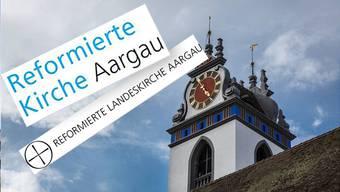 Oben das neue Logo der reformierten Kirche, unten das alte. Blau soll eine Verbundenheit mit dem Kanton Aargau darstellen.