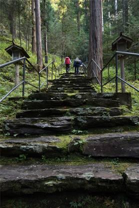 Nicht nur viele, sondern auch sehr alte Stufen führen zum Satomiya-Schrein hoch.