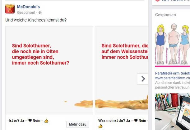 ... und diese «Klischees» will die Fastfood-Kette über Solothurn kennen: «Sind Solothurner, die noch nie in Olten umgestiegen sind, immer noch Solothurner?» / «Sind Solothurner, die noch nie auf dem Weissenstein waren, immer noch Solothurner?»